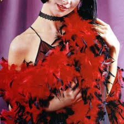 Feather Boa Chandelle Red Black Tips