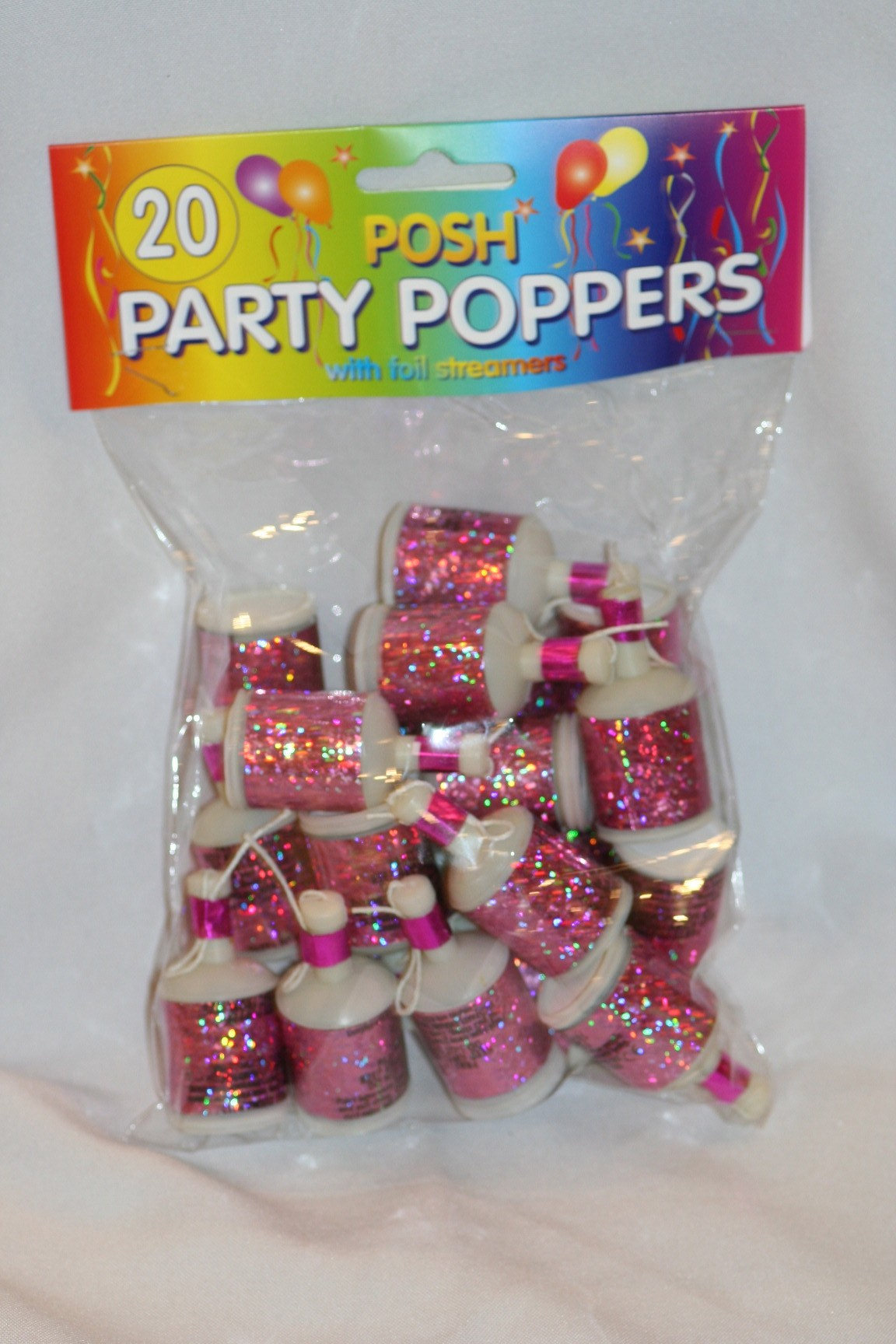 Party poppers pink bag masks cutouts other