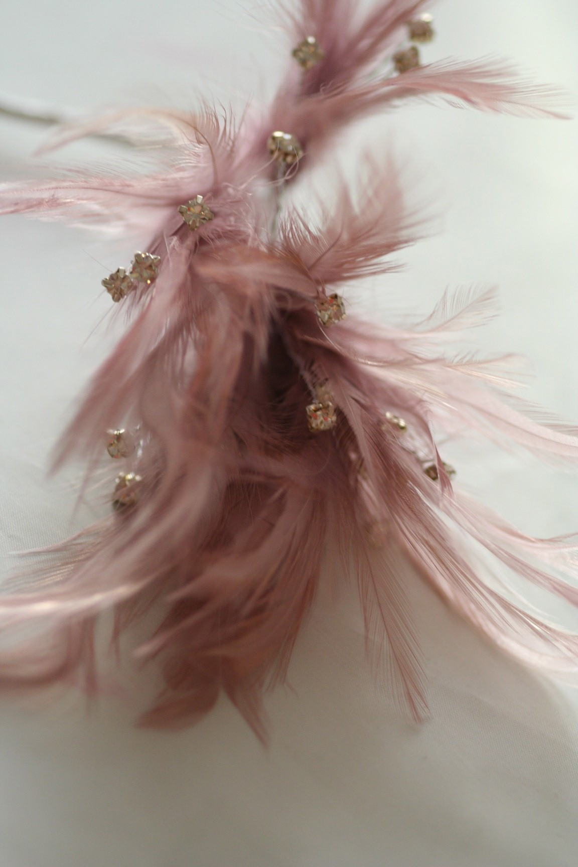 Wired diamond feather mount dusty pink millianry