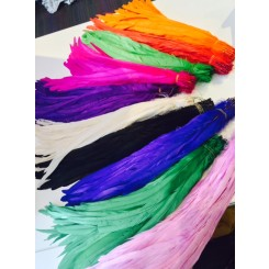 6 x 10-14inch coque feathers dyed colour
