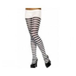 tights white black striped